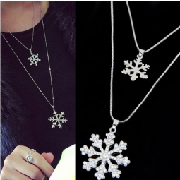 C110604286 Snowflakes 2 Layers Charm Long Necklace Malaysia