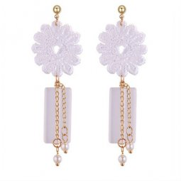 P131381 White Flower Dangling Beads Korean Inspired Earstud Shop