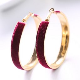 A-LG-ER0300m Maroon Elegant Luxurious Gold Hoops Korean Earstuds