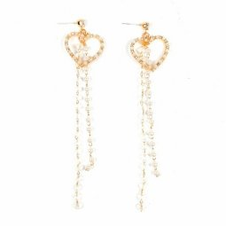 A-TT-469 RoseGold Love Pearls Dagling Cute Design Earrings