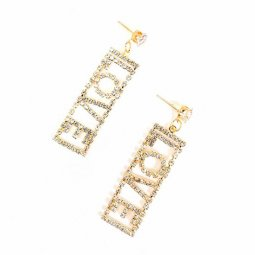 A-GH-Lovee Love Crystal Studded Wording Urban Style Earstuds