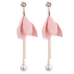 P130514 Pink Flower CLoth Crystal Bead Korean Inspired Earstuds
