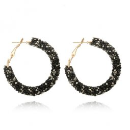 A-SD-XL0790B Black Crystals Bead Korean Inspired Hoop Earstuds