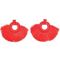 A-SD-XL113251-1 Red Classic Square Circle Statement Earstuds