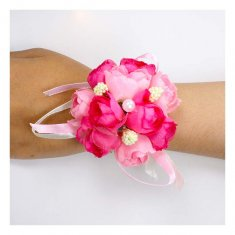 A-GF-pink Hot Pink Roses Flower Bracelets Pearl Studded Ribbon