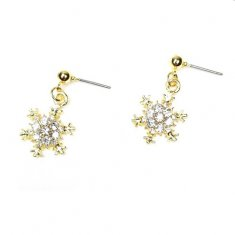 A-QK-S0705 SNOW WHITE WITH CRYSTALL EARSTUD KOREAN EARRINGS