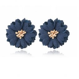A-MY-1030200105 NAVY BLUE PETALS FLOWERS MINE EARSTUD