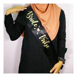 A-SH-011 Black Bride Tribe Gold Cursive Writing Party Sashes