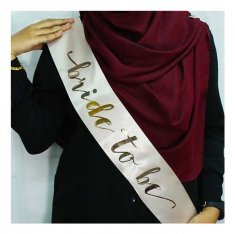 A-SH-004 Peach Bride To Be Wording Golden Party Sashes
