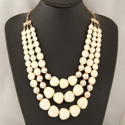 C09022153 White 3 Layers Dangling Statement Long Necklace Shop