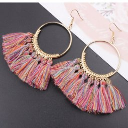 A-SD-colour6 Colourful Summer Round Korean Tassel Earrings