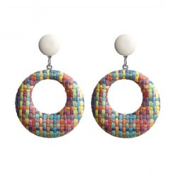 A-FX-E6011-2 Colourful Lattice Circle Earstuds Earring