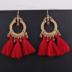 A-SD-XL0245red Red Tassel Gold Moon Hook Earrings Wholesale