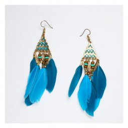 A-UN-FP002 Blue Turquoise Feather Tassel Style Hook Earrings