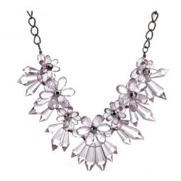 A-CJ-CZ9017black Clear Icy Crystal Flower Black Necklaces