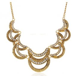 A-SJQ-D608 Vintage Crystal Layer Statement Necklace Malaysia