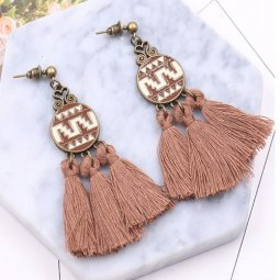 A-HH-HQET-022brown Brown Tassels Circle Abstract Design Earstuds