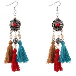 P128816 Antique Silver Round Dangle Tassel Earrings Shop