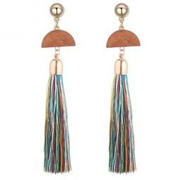 P129368 Colourful Spring Wooden Triangle Tassel Earstuds