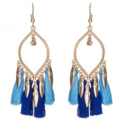 A-KJ-E020464 Blue Dangling Leaves Oval Tassel Earrings Malaysia