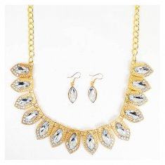 A-CJ-9065 Cleo Gold Symmetry Statement Necklace White Crystals
