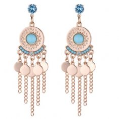 P131964 Gold Sky Blue Beads Dangling Korean Inspired Earstuds