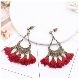A-HH-HQES-007red Vintage Dangling Red Flower Earstuds