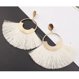 A-SD-er0358white White Huge Tassels Huge Gold Circle Hoop Earstu
