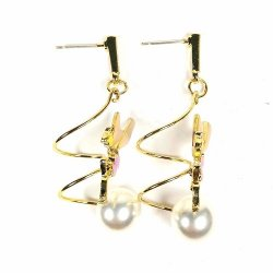 A-TT-C818 Gold Spring White Pearl Fairy Tail Disney Earstuds