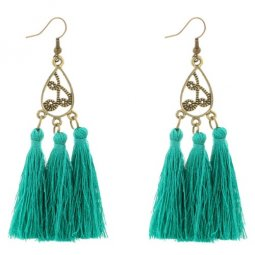 A-YG-4500g Green Tassel Vintage Oval Hook Earrings Bohemian