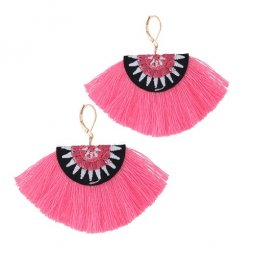 C0150748164 Pink Tassels Cloth Bohemian Hook Earrings Shop