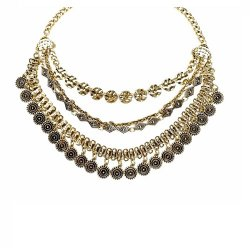 B-MLSF-6002- Gold Classic Shape Square Circle Statement Necklace