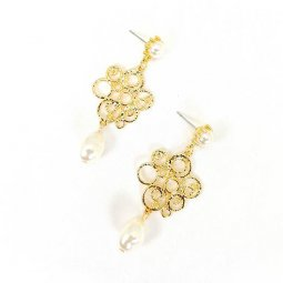 A-MDD-E1689B Gold Curve Maze High Class Design & Pearl Earrings