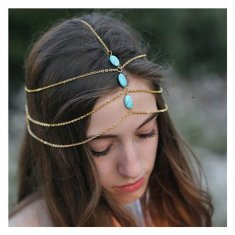A-ZL P113672 Triple layer blue bead headchain accessories shop