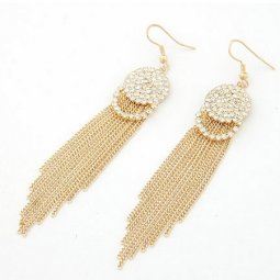 C09013162 Gold dangling chain shiny crystals round hook earrings