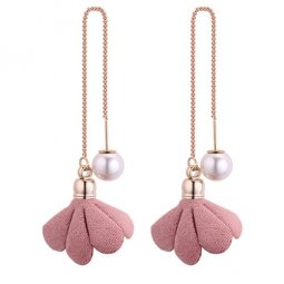 P130510 Creamy Flower Cloth Dangling Linked Pearl Earstuds