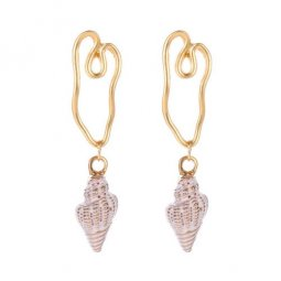 A-JW-2529 White Golden Line Summer White Shells Trendy Earstuds
