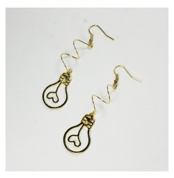 A-TT-324 Lightbulb Aegyo Golden Korean Style Hook Earrings