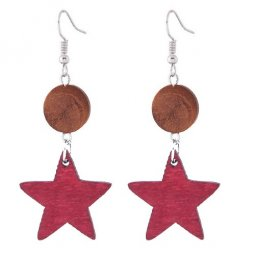 C110414146 Wooden Star Arabian Hook Earrings Malaysia