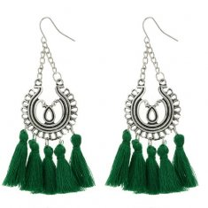 A-SYG-4600Green Green Antique Silver Tassel Hook Earrings