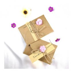 A-LH-PINK Vintage Brown Paper Gift Cards With Pink Rose