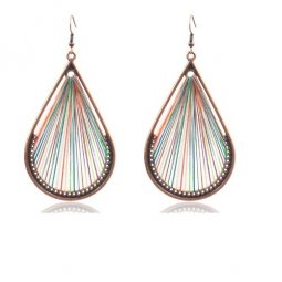 A-HH-HQEF-1428 mix colour rainbow waterdrop tassel earring