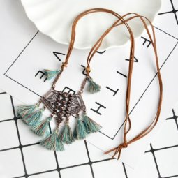 A-ZB-xl864 Green-Turquoise Brown Tassel Vintage Style Necklace