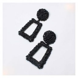 A-QDE300Black Black Statement Shiny Bulky Circle Square Earrings