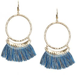 A-KJ-E020336bb Blue Brown Round Tassel Earrings Malaysia Shop