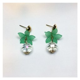 A-LG-ER0379green Clear Crystal Green Flower Korean Style Earstud