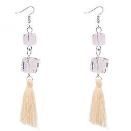 P129057 White Tassel 2 Square Bead Hook Earrings