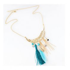 A-HY-N075 Feather Themed Necklace Turquise & Blue Golden