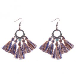 A-DW-HQE776colour1 Crystals Mixed Coloured Tassel Hook Earrings