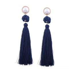 A-QD-E1494navy Navy Blue White Pearl Tassel Twisted Earstuds